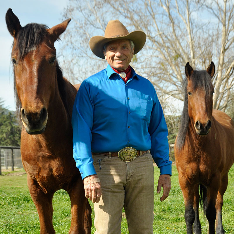 Monty Roberts with mustangs at Flag Is Up Farms, Solvang, California